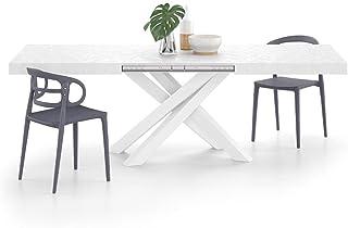 Mobili Fiver, Table Extensible Emma 160, Blanc Béton, avec Pieds Blancs croisés, Mélaminé/Fer, Made in Italy