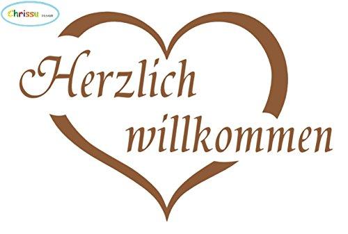 Generic Herzlich willkommen Aufkleber für Ihre Haustüre 13x20cm (184/2) (dunkel Gold Glanz)