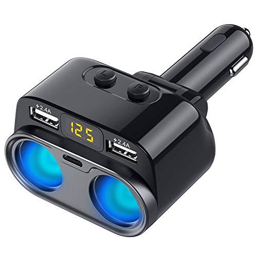 シガーソケット 3連 車用ソケット分配器 2USBポート 車載充電器 カーチャージャー 増設 独立スイッチ 電圧...