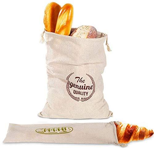 Bolsas de Pan de Lino Reutilizables Bolsas de Almacenamiento de Pan Bolsa de Pan EcolóGico Eco Pan Bag Bolsas Natural Sin Blanquear de Pan con Cordón Para Pan, Almacenamiento de Alimentos, 2 Piezas