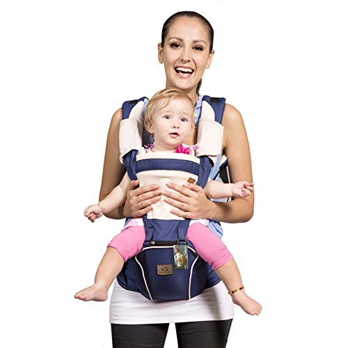 Bebamour Mesh Newborn Baby Carrier Front and Back Carry Baby Newborns to Toddler Baby Hip Carrier with 2 Pieces Teething Pads,Dark Blue