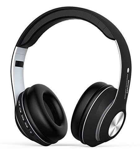 Casque Bluetooth sans Fil, Casque Audio Over-Ear avec Réduction de Bruit intégrée Microphone Mains Libres, Écouteurs Stéréo Hi-FI Basse Compatible avec PC, Smartphones, TV-Noir