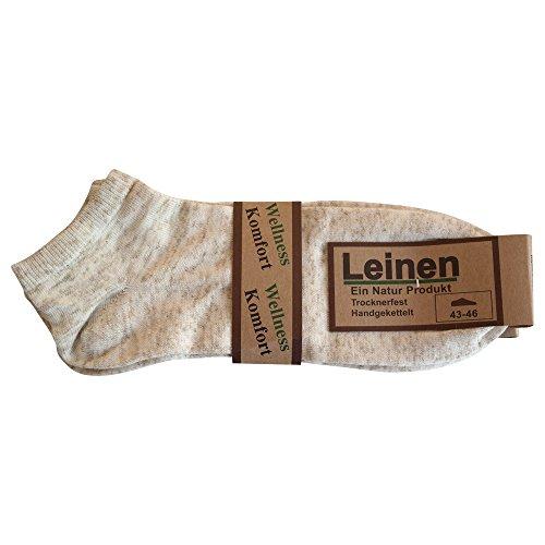 Ges&heitsstrumpf 6 Paar Natur Leinen Baumwolle Sneaker Socken Füsslinge ohne Naht (39-42)