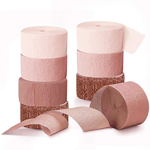 NICROLANDEE - 8 rotoli di carta crespa color oro rosa con nappe, per matrimonio, addio al nubilato, compleanno, festa nuziale, festa di famiglia, 25 m di lunghezza