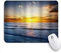PATINISAマウスパッド 空と太陽光線の雲と海の日の出の熱帯の島のビーチの夕日 ゲーミング オフィス おしゃれ 耐久性が良い 滑り止めゴム底 ゲーミングなど適用 マウス 用ノートブックコンピュータマウスマット