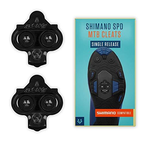 Alphatrail Shimano SPD MTB Cleats Carter I Single Release I Adecuado para Spinning I Incl. el Kit de Montaje I Compatible con los Pedales de Clic i.a. Shimano XTR, Shimano XT, Saint, SLX & Deore