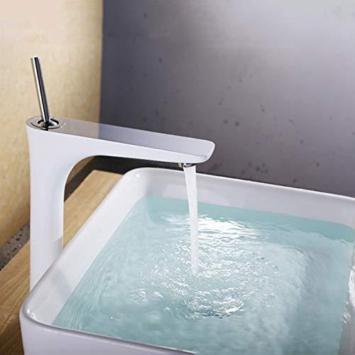 Kcakek Witte Verf wastafel kraan wastafel volledig koperen warm en koud Single Hole Kraan Kitchen Sink kraan met een handvat Een gat badkamer kraan Kitchen Spuitbus Sink mengkraan