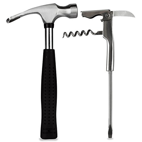 Barbuzzo Bar Tools, Mini - Clever Set Includes a Beer Hammer Bottle Opener and a Corkscrew Screwdriver - The Ultimate Gift for Your Favorite Handyman for All Kinds of Entertaining and Parties