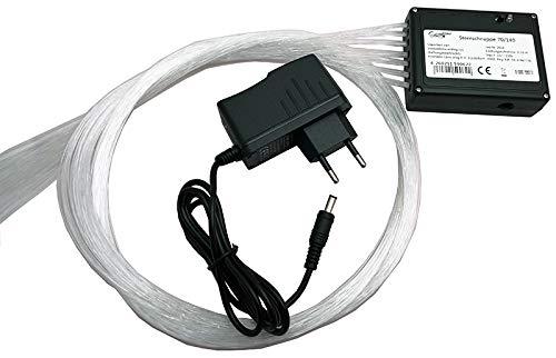 LED Glasfaser Sternenhimmel Set weiß mit Funkeleffekt und Sternschnuppe - 340 Lichtfaser