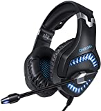 Xbox One Gaming Headset k1PRO for PS4, Xbox One, PC with 7.1 Surround Sound, Noise Cancelling Mic, Mute & Volume Control, Zero Ear Pressure & Durable Frame, LED Light & Soft Memory Earmuffs(Black)