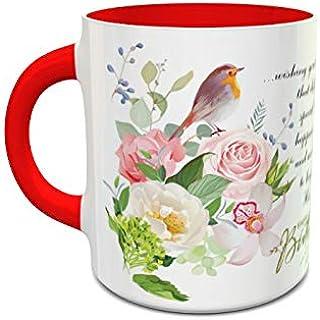 IMPRESS White and Red Ceramic Coffee Mug with Happy Bithday 0101 Design