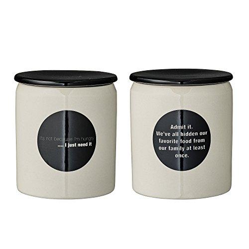 Pots Cathrine, imprimé citations, Bloomingville, blanc et noir, 2 pièces