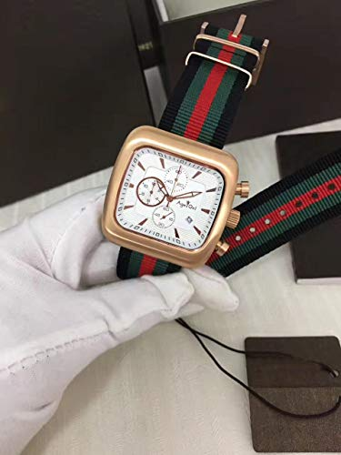 LESHARED Mannen Horloges Coupe Quartz Chronograaf Groen Zwart Streep Nylon Lederen Gents Sapphire Beperkt Goud Zilver Horloge