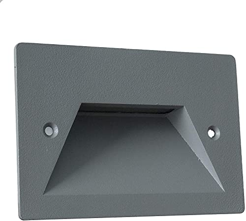 Universo Faretto segnapassi da esterno lampada da muro IP65 LED 3W ad incasso per scatola cassetta 503 scale giardino viale gradini nero bianco o grigio (Grigio - Bianco caldo 3000K)