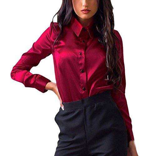 Siswong Blusas Raso Cuello de Solapa Elegantes Casual Mujer de Manga Larga Camisas Formales Oficina Juveniles de Chica Sexys con Botón (XL, Rojo)