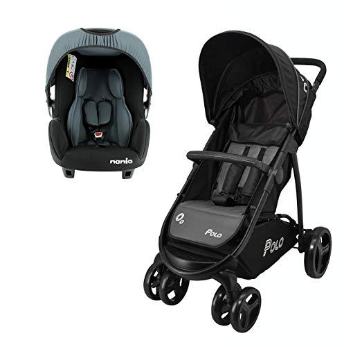 Kombinierter Kinderwagen POLO + Autositz BEONE Gruppe 0+ (0-13kg) - Nania Access (grau)