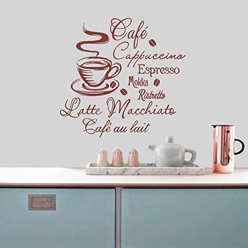 Café Cocina Vinilo Adhesivo De Pared Cocina Cafetería Calcomanías Murales Extraíbles Decoración Del Hogar Decoración De La Casa Arte De La Pared 38X40Cm