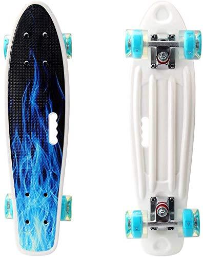 Photo of 22 Inch Mini Cruiser Skateboard for Girls Boys Kids,Plastic Skateboard with LED Light up Wheels for Beginners (Flame)