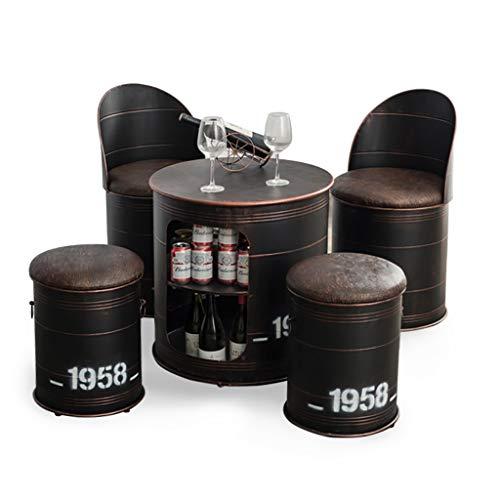Bar Retro garnitur, 5 zestawów stołów i krzeseł z bębnem olejowym, europejski zestaw barowy, vintage staroindustrialny styl mleczna herbata deser sklep kawiarnia rekreacja przechowywanie stołek/krzesło/stół