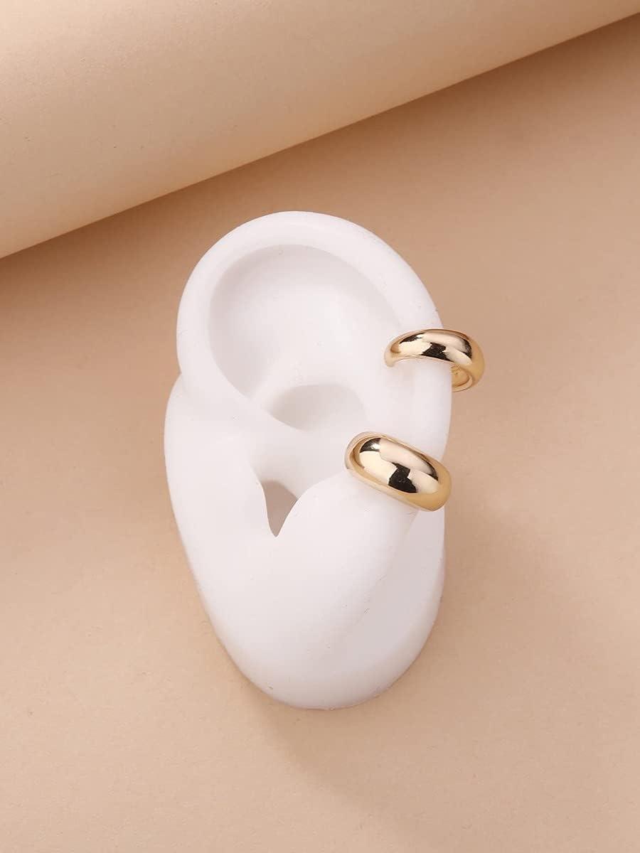 LCUY Hoop Earrings Metal Ear Cuff (Color : Gold)