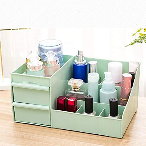 Qiutianchen Boîte de Rangement Cosmétique Cosmetic Case Bureau étagère tiroir Commode Boîte de Finition en Plastique Vert nettoyable Design en Couches * 18,5 * 30,5 13,5 cm