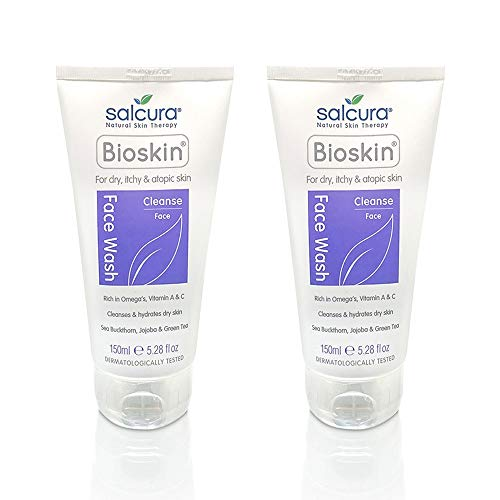 Salcura Natural Skin Therapy, Bioskin Face Wash Duo Pack, Natural Wash Cleansing All Impurities From Dry, Itchy & Sensitive Skin, Leaves The Skin Feeling Soft, Smooth & Nourished Duo 2 x 150ml