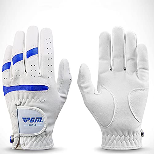 NAKITS Golf Gloves Pack 1 Pair Golf Gloves Kids Left Hand Right Hand Microfiber Cloth Breathable with Ball Marker for Junior Youth Boys Girls (Color : White Blue, Size : X L)