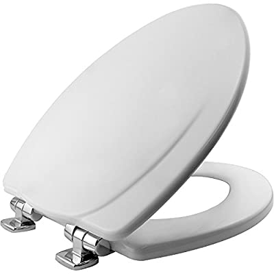 MAYFAIR 1830CHSL 000 Toilet Seat with Chrome Hinges will Slow Close and Never Come Loose, ELONGATED, Durable Enameled Wood, White