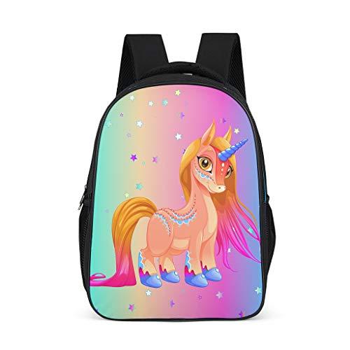 Dofeely Unicorn print schoolrugzak mini schattige schooltas backpack meisjes en jongen vrijetijdsrugzak functionele rugzak voor outdoor shopping 32 cm x 18 cm x 42 cm polyester