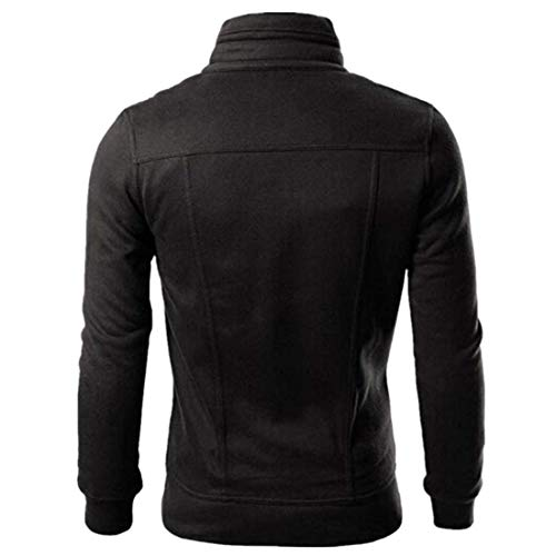 MENHG Men's Solid Color Long Sleeve Thick Warm Fleece Jacket Coat Full Zip Pockets Turtleneck Windproof Bomber Jacket Military Coats Mens Walking Outdoors Cardigan Outwear Sweatshirt Pullover Tops