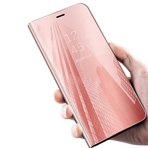 Preisvergleich Produktbild Conie Handy Hülle für Samsung Galaxy S10e Cover View Spiegel Case,  Handyhülle mit Aufstellfunktion Flip Schutzhülle für Galaxy S10e,  Rosegold