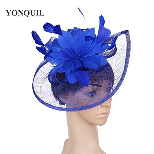 Schwarz und Elfenbein Hochzeit Blumenkopfschmuck Blume Hut gemischte Braut 2020 neue Luxus-Frauen-Partei-Kopfschmuck Hairpin,Blau