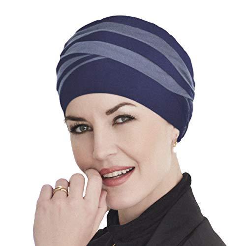 Christine Headwear Bambus Turban Shanti für Chemotherapie (zweifarbig blau)