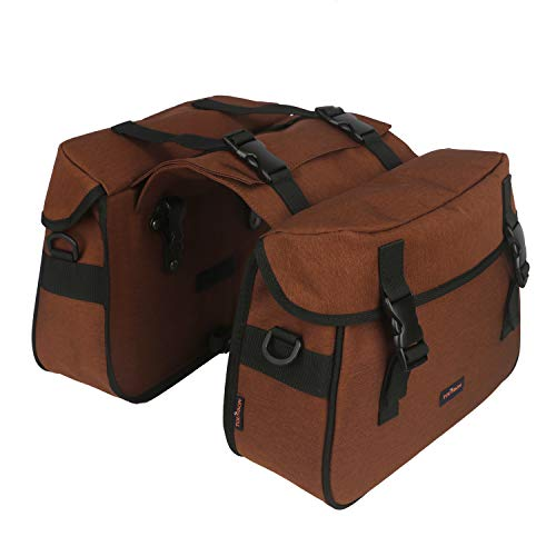 TOURBON Nylon Double Pannier Shoulder Bags Bicycle Rear Rack Trunk Motorcycle Tail Seat Bag - Brown