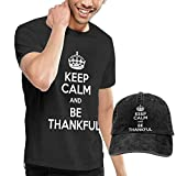 Baostic Herren Kurzarmshirt Keep Calm Be Thankful Fashion Men's T-Shirt Hats Youth & Adult T-Shirts