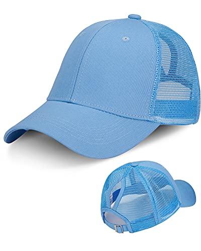 LIVACASA Baseball Cap Damen Pferdeschwanz Mesh Basecap Baseball Hut Atmungsaktiv Cappi Sonnenhut Sonnenschutz Mädchen Kappe schildkappe Schirmmütze Cappy Kopfumfang 52-61cm Blau