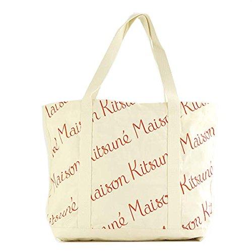 MAISON KITSUNE (メゾンキツネ) トートバッグ RED FW17U813-ECRE SHOPPING BAG ALL-OVER MAISON KITSUNE E...