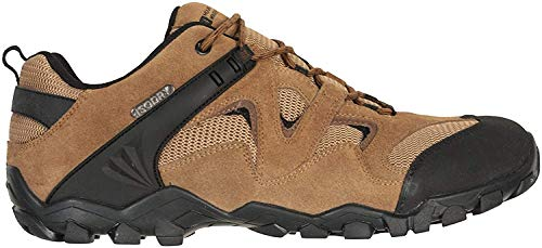 Mountain Warehouse Zapatillas Curlews Impermeables para Hombre - Secado rápido - Material Exterior de Gamuza y Malla - Suela de Goma - Ideal para Acampada y Senderismo Beige Oscuro 47