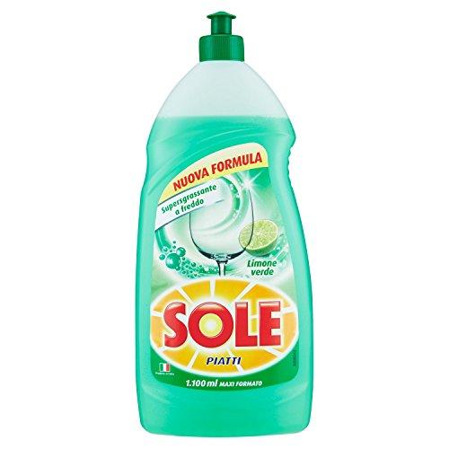 Sole - Detersivo per Piatti, Azione Sciogligrasso, Supergrassante con Limone Verde - 1100 ml