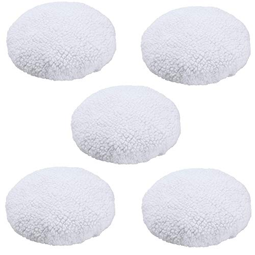 KingBra 5Pcs Car Polisher Pad Bonnet (9 to 10 Inches), Soft Microfiber Polishing Bonnet Buffing Pad Cover, Car Waxing Bonnet Waxer Pads for Car Polisher