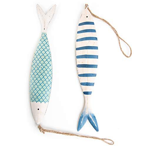 Logbuch-Verlag 2 Dekofische zum Aufhängen Fisch mit Schnur blau weiß türkis Maritime Anhänger Deko aus Metall Blech Fischanhänger sommerlich Kommunion Taufe