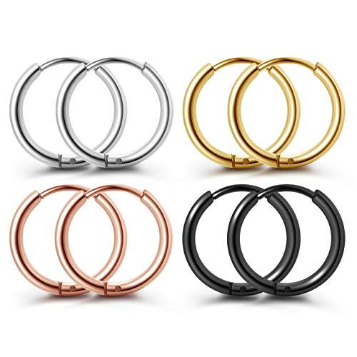 PiercingJak 4 Paare Chirurgenstahl Creolen Ohrringe Set Huggie Hoop Ring Kleine Klappcreolen Silber Schwarz Gold Rosegold (10mm)