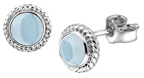 Nenalina Silber Damen-Ohrringe Ohrstecker rund mit Geburtsstein Aquamarin hellblau für Frauen und Mädchen, 925 Sterling Silber, Ohrstecker für Damen, Geburtsstein Ohrringe, 222999-098