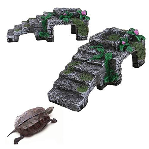Dulau 1 Pieza Caja de Cría para Reptiles Refugio Hábitat, Decoración Humidificada de Hábitat, Plataforma de Resina Artificial, Tortuga Tank Accesorios, para Reptiles, Tortuga