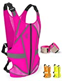 ⚠️SAFETY FIRST - This pink reflective running vest has 25% REFLECTOR TAPE SURFACE, bigger than similar reflective vests, and will make you visible from over 1000 feet. For extra safety, our night running vest comes with a set of 2 REFLECTIVE BANDS fo...