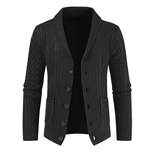 Herren Schalkragen Grob gestrickt Cardigan Sweater Mit V-Ausschnitt Winter Warm Bequemer Button Stripe Sweater Outwear Casual Daily Wear Coat Mit Taschen top XL