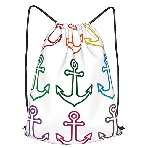 Mochila Con Cordones Unisex,Esquema colorido Anclas Vela Crucero Viajes Barco Barco Buque Gráfico Tema naval,Bolso con Cordón Impermeable para Nadar/Surfear/Viajar/Hacer Senderismo/Yoga/Deportes