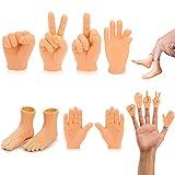 Mini Marionetas de Dedo,8 Piezas Tiny Hands,Minidedos Marionetas de Mano para de Juguete del Juego de la Broma Piedra Papel Tijeras