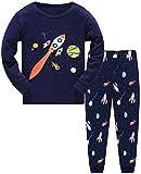 Little Hand Jungen Schlafanzug Langarm Herbst Winter Kinder Nachtwäsche Pyjama Sets Bagger Feuerwehrauto Rakete 98 104 110 116 122 128 134