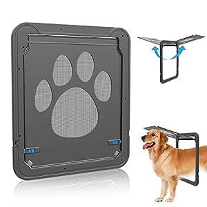 Namsan Dog Screen Door – Inside Size 12 x 14 inches Sliding Screen Dogs Door with Magnetic Flap for Exterior Doors Lockable Pet Door